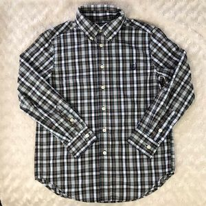 Chaps Plaid Button Down Shirt Easy Care M (10-12)